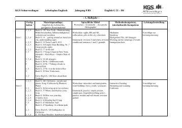 Arbeitsplan Eng RS 8 - KGS Schneverdingen