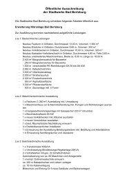 Öffentliche Ausschreibung der Stadtwerke Bad Berleburg