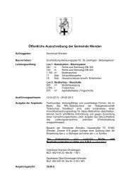 Öffentliche Ausschreibung der Gemeinde Wenden