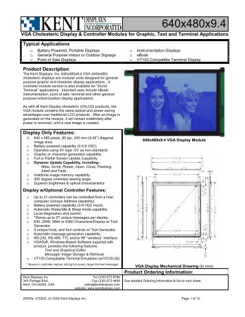 1/8 VGA Display Spec. Sheet - KHALUS Electronics