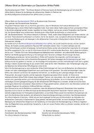 Offener Brief an Steinmeier zur Deutschen Afrika-Politik