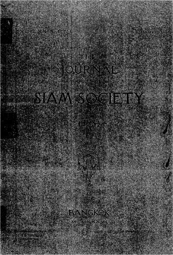 The Journal of the Siam Society Vol. XXIX, Part 1-2, 1936 - Khamkoo
