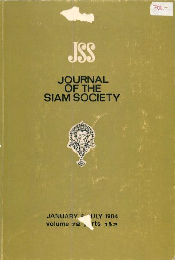 The Journal of the Siam Society Vol. LXXII, Part 1-2, 1984 - Khamkoo