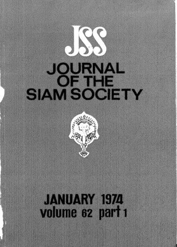 The Journal of the Siam Society Vol. LXII, Part 1-2, 1974 - Khamkoo