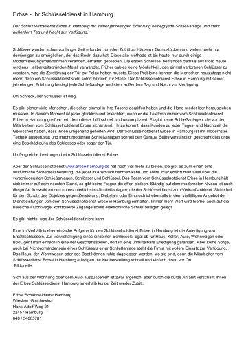 Erbse - Ihr Schlüsseldienst in Hamburg