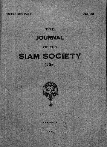 The Journal of the Siam Society Vol. XLIX, Part 1-2, 1961 - Khamkoo
