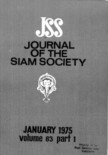 The Journal of the Siam Society Vol. LXIII, Part 1-2, 1975 - Khamkoo