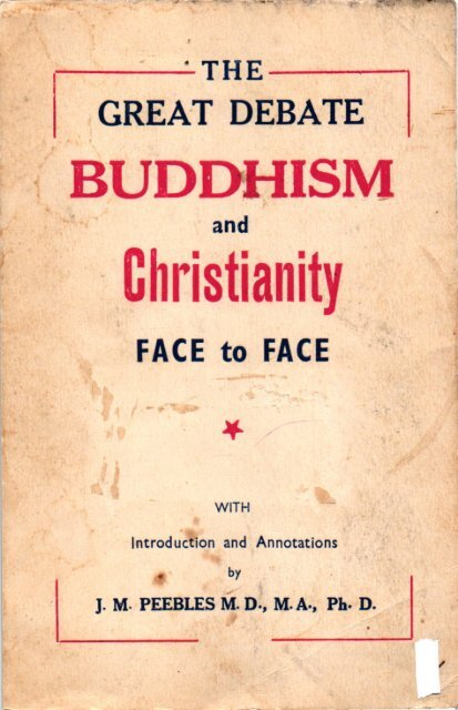 The Great Debate Buddhism and Christianity Face to
