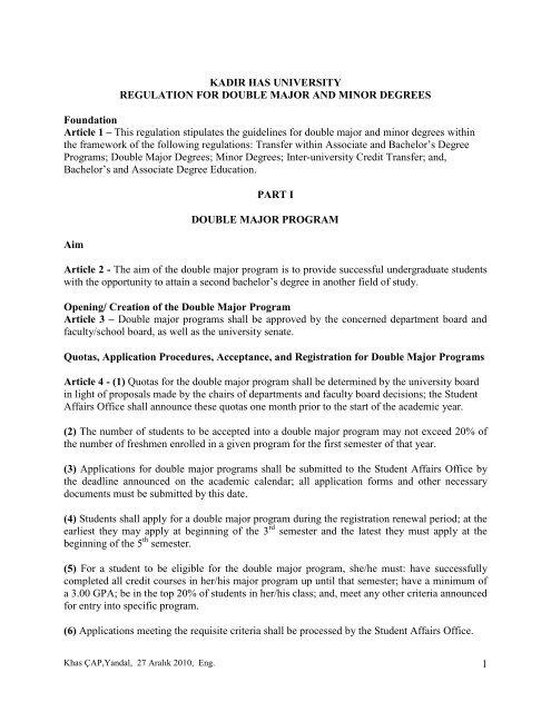 Ucm Academic Calendar.1 Kadir Has University Regulation For Double Major
