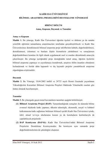 Bilimsel Araştırma Projelerini Destekleme Yönergesi - Kadir Has ...