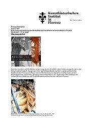 Pressemitteilung - Kunsthistorisches Institut in Florenz