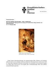 Pressetext Vite-Tagung - Kunsthistorisches Institut in Florenz