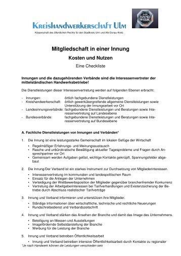 Mitgliedschaft in einer Innung - Kreishandwerkerschaft Ulm