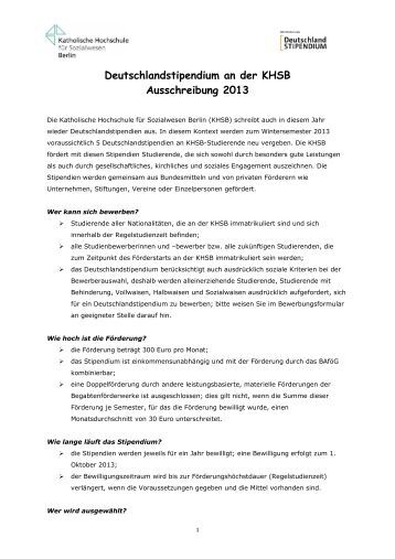 ausschreibung deutschlandstipendium an der khsb 2013 - Bewerbung Deutschlandstipendium