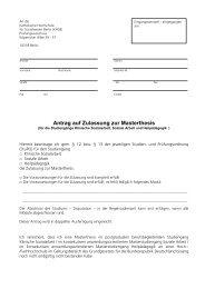 Antrag auf Zulassung zur Masterthesis - KHSB