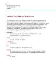 Ausschreibung Wege zur Promotion mit FH-Abschluss 2011 - KHSB