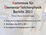 Zwei Jahre erfolgreiche Datennahme am LHC • Aktivitäten des KET ...