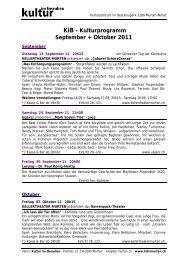 KiB - Kulturprogramm September + Oktober 2011 - KiB, Kultur im ...