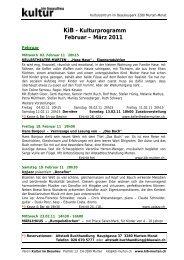 KiB - Kulturprogramm Februar – März 2011 - KiB, Kultur im Beaulieu ...
