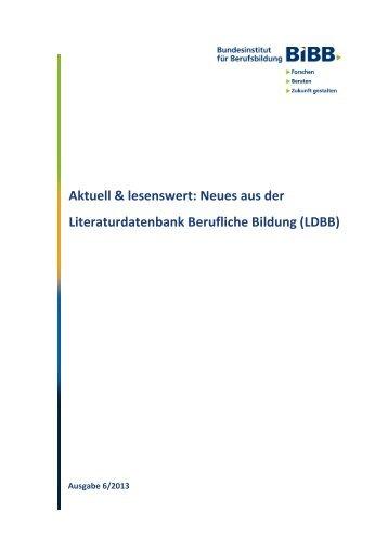 Neues aus der Literaturdatenbank Berufliche Bildung (LDBB) - KIBB