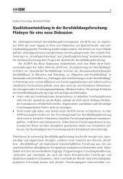 Qualitätsentwicklung in der Berufsbildungsforschung ... - KIBB