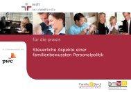 Steuerliche Aspekte einer familienbewussten ... - Familie und Beruf