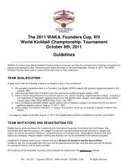 The 2011 WAKA® Founders Cup® XIV World Kickball ...