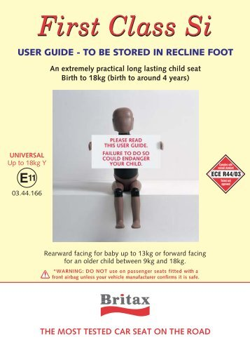 User guide - to be stored in recline foot - Kiddicare