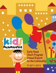 Early Head Start Annual Report to the Community - Kids Incorporated