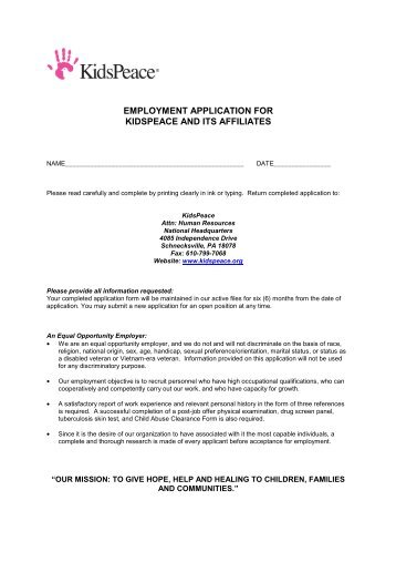 PA Application Form (pdf)   KidsPeace