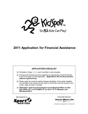 2011 Application for Financial Assistance - KidSport™ Canada