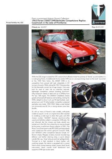 From a prominent Historic Ferrari Collection 1963 Ferrari ... - Kidston