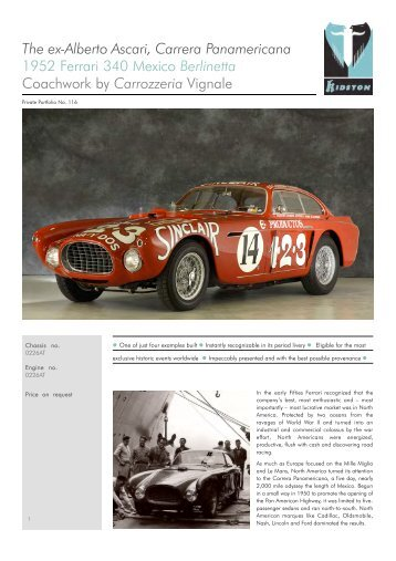 T hee x- A lberto A scari , Carrera Pa namericana 1952 ... - Kidston