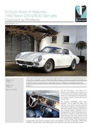 E x-Count Zanon di Va lgiurata 1965 Ferrari 275 GTB/6C ... - Kidston