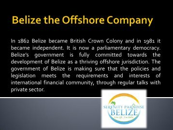 Belize the Offshore Company