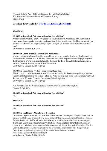 Pressetext Veranstaltungen April 2010 - Kiel szene