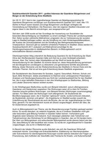 kersig kiel sozialraumbericht gaarden 2011 groaaes interesse kieler ostufer hausverwaltung