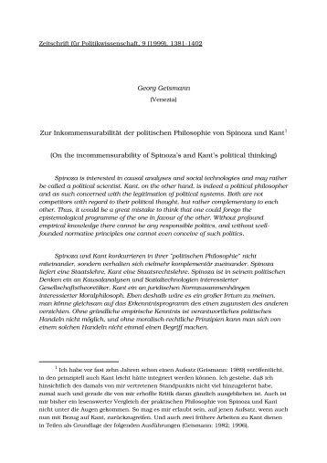 Zur Inkommensurabilität der politischen Philosophie von Spinoza und