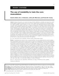 The use of instability to train the core musculature