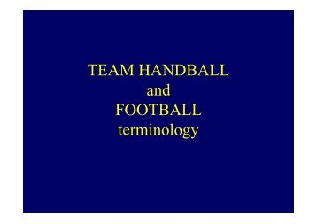TEAM HANDBALL and FOOTBALL terminology