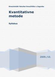 Kvantitativne metode - Syllabus - Kineziološki fakultet