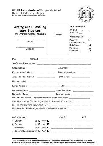 Antrag auf Zulassung zum Studium - Kirchliche Hochschule ...