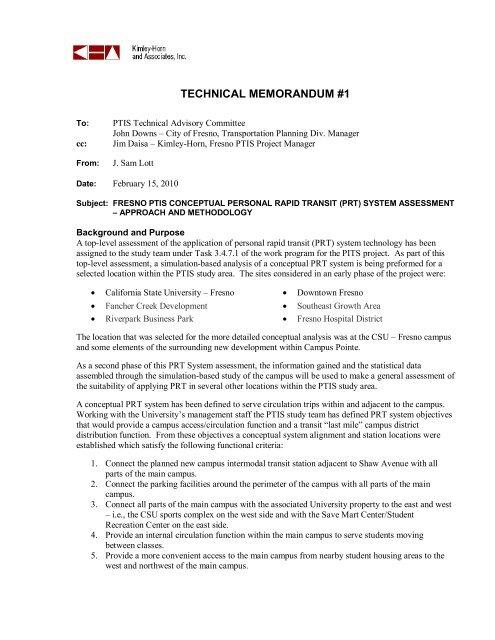 TECHNICAL MEMORANDUM #1 - Kimley-Horn and Associates, Inc