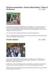 Berichte Kita -Homepage Jusowe - Kinder helfen Kindern