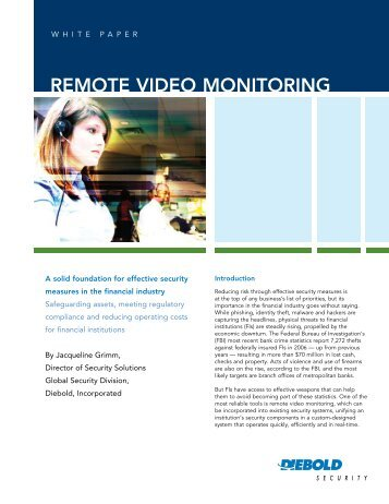 Remote video monitoring - Diebold