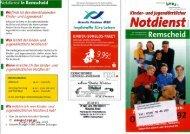 Flyer des kinder- und jugendärztlichen Notdiensts Remscheid