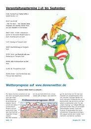 Veranstaltungstermine Juli bis September Wetterprognose auf www ...