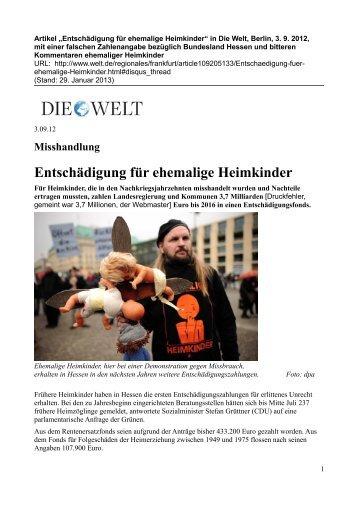Artikel in Die Welt, Berlin, 3. September 2009, mit 14 Kommentaren ...