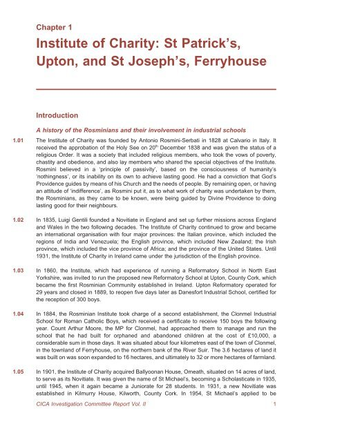 institute of charity st patricks upton and st josephs ferryhouse