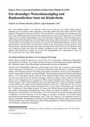 Hannes Meyer - Kinderheime in der Schweiz Historische Aufarbeitung